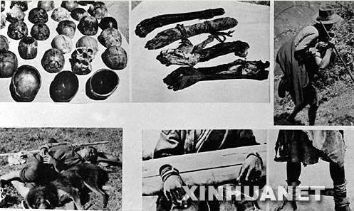 Верхний ряд слева направо: Поделки тибетских лам из черепов казненных рабов — Обереги из отрубленных рук (их следовало носить у пояса) — Раб тащит на спине другого раба, которому отрубили ноги за ослушание хозяина. Нижний ряд слева направо: Раб и собака: одна подстилка на двоих — Раб в колодке — Женщина раб с отрубленной ступней.